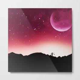 Moon mountain scarecrow Landscape V4 Metal Print