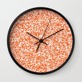 Tiny Spots - White and Dark Orange Wall Clock