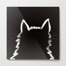 Black Cat In The Light Metal Print