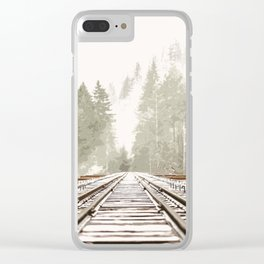 Railway in the forest Clear iPhone Case