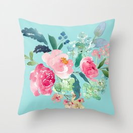 Aqua Blue and Pink Floral Watercolor Throw Pillow