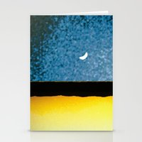 moon phase Stationery Cards featuring New Moon - Phase I by Marina Kanavaki