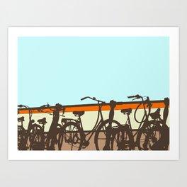 On your bike (Blue & Orange) Art Print