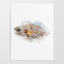 Head in the clouds in Manarola Poster