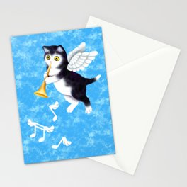 Black and White Cherub Kitten Playing a Horn Stationery Cards