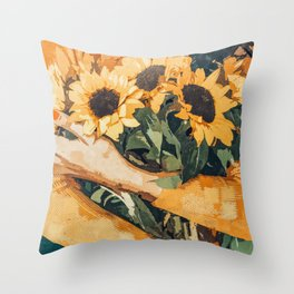 Holding Sunflowers #society6 #illustration #nature #painting Throw Pillow