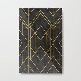 Geometric Seamless Black Gold Vintage Pattern (Style of 1920s) Metal Print