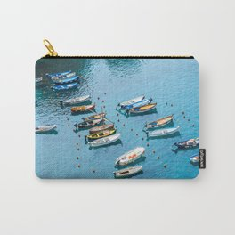 Colorful boats in the harbor of Cinque Terre, Italy | All blue | Summer has started | Italian art prints Carry-All Pouch
