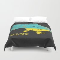 ukraine Duvet Covers featuring Ukraine Vintage Map by Finlay McNevin