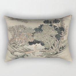 Vintage Japanese Landscape Painting Rectangular Pillow