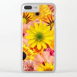ORANGE FLOWERS Clear iPhone Case