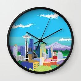 8-Bit Pixel Seattle Skyline Wall Clock