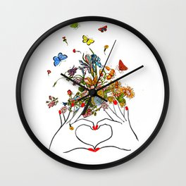 Girl Power - LOVE - print, Mixed media Decorative art, illustration,Motivational art Wall Clock