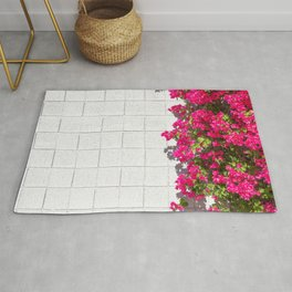 Bougainvilleas and White Brick Wall in Palm Springs, California Rug