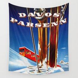 Vintage Davos Parsenn Switzerland Wall Tapestry
