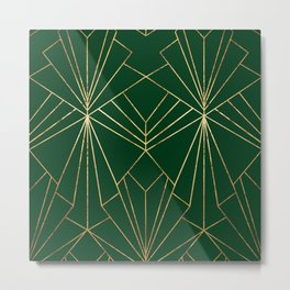 Art Deco in Gold & Green - Large Scale Metal Print