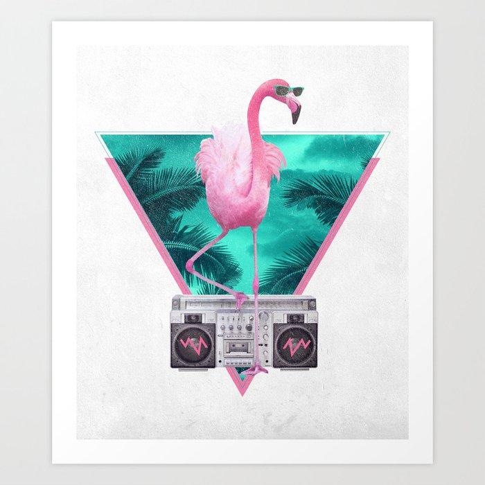 Miami Flamingo Art Print