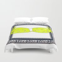 bikini Duvet Covers featuring Yellow Bikini by Mike van der Hoorn