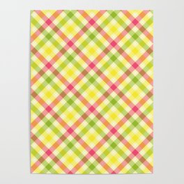 Yellow, Green and Pink Diagonal Plaid Pattern Poster