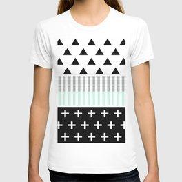 Modern Elegant Mint, Black,  & White Shapes T-shirt