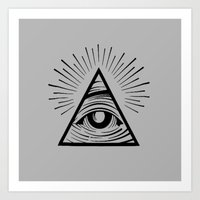 all seeing eye Art Prints featuring ILLUMINATI ALL SEEING EYE by HAUS OF DEVON