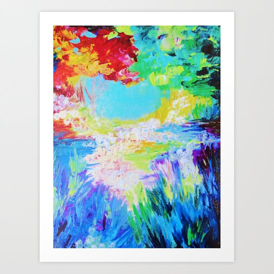 IN DREAMS - Gorgeous Bold Colors, Abstract Acrylic Idyllic Forest Landscape Secret Garden Painting Art Print