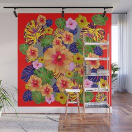 TROPICAL FLOWERS & LEAVES RED ART Wall Mural