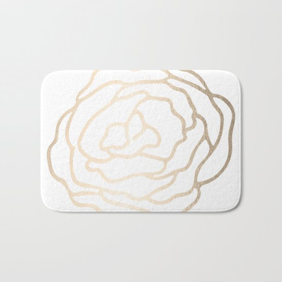 Flower in White Gold Sands Bath Mat