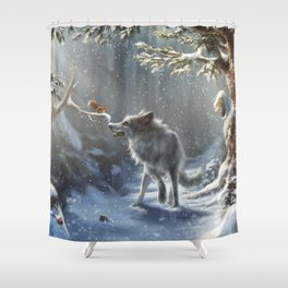 Friends: Wolf & Squirrel in Winter Shower Curtain