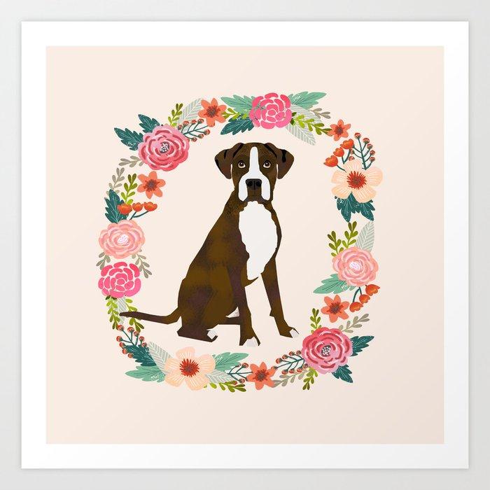 Boxer brindle floral wreath flowers dog breed gifts Kunstdrucke