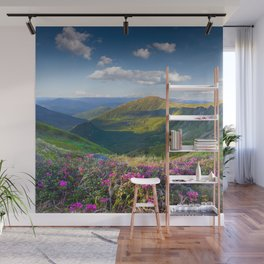 Floral Mountain Landscape Wall Mural
