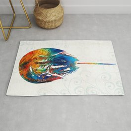Colorful Horseshoe Crab Art by Sharon Cummings Rug