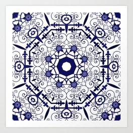 Blue and White Mandala Tile Pattern Art Print