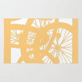 Bike wheels in yellow Rug