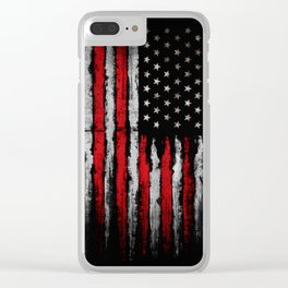 Red & white Grunge American flag Clear iPhone Case