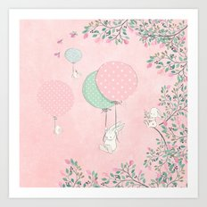 Cute flying Bunny with Balloon and Flower Rabbit Animal on pink floral backround Art Print