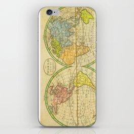 Vintage World Map 1798 iPhone Skin
