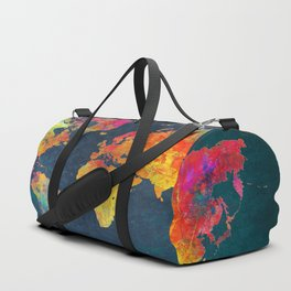 World Map blue #world #map Duffle Bag