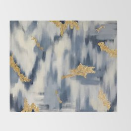 Blue and Gold Ikat Pattern Abstract Throw Blanket