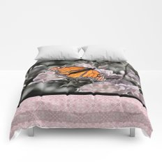 Monarch Butterfly on Pink Flowers and Gothic Tile Comforters