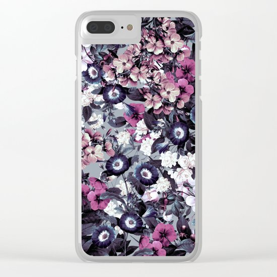 Forest Night Garden Gray Clear iPhone Case