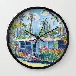Kauai Blue Cottage 2 Wall Clock