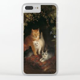 Henriëtte Ronner - Cat with kittens (1844) Clear iPhone Case