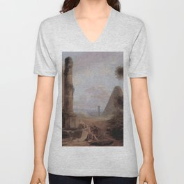 Hubert Robert - Fantastique Landscape with the Pyramid of Cestius and a Ruined Temple Unisex V-Neck