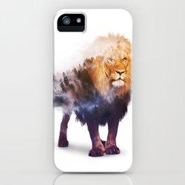 Lion Double exposure art iPhone Case