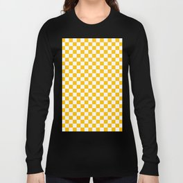 White and Amber Orange Checkerboard Long Sleeve T-shirt