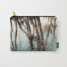 Blue Brown Abstract Water Reflections Photography, Water Ripples Tree Lake Reflection Photo Carry-All Pouch