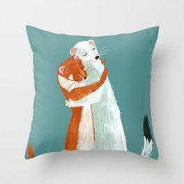 Weasel hugs Throw Pillow