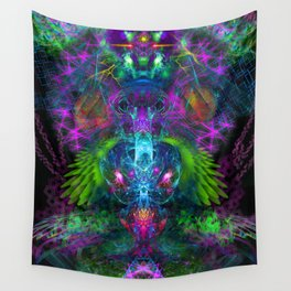 Evening Glory Vortex (totem, psychedelic, visionary) Wall Tapestry