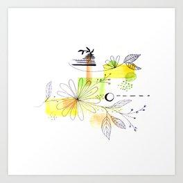 Simple Lines Flowers Art Print